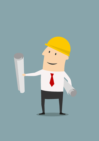 building inspector: Happy architect or engineer in yellow safety helmet with building project blueprints rolls, for investor presentation on construction industry concept design. Flat style Illustration
