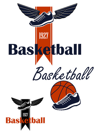 forked: Basketball team emblem design with winged sneakers on ribbon with forked edge and date foundation, another variant with basketball shoes and ball. Isolated on white background Illustration