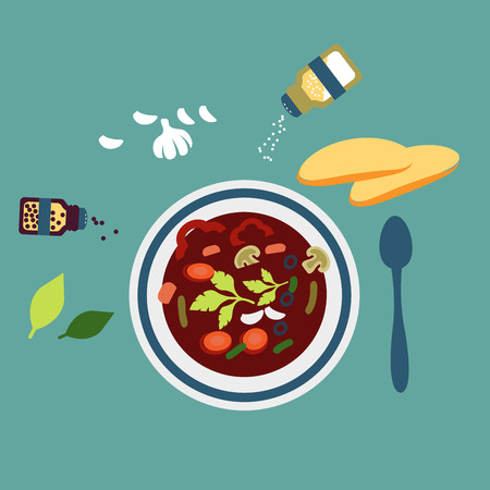 garlic bread: Fresh cooked vegetarian soup with sliced carrot, olives, bell pepper, garlic and parsley served in a white bowl surrounded spoon, bread, garlic, spicy herbs, salt and pepper for healthy nutrition concept design. Flat style Illustration