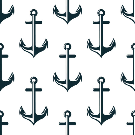 nautical: Retro nautical anchors with arrow shaped flukes seamless pattern on white background for fabric design Illustration
