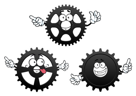 spur: Funny mechanical gears cartoon characters with cogwheels and pinions showing pointing gestures. Isolated on white background Illustration