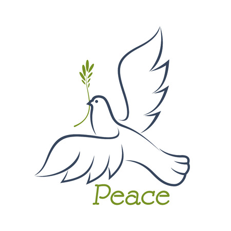 White dove of peace flying with green olive branch in beak, outline sketch style