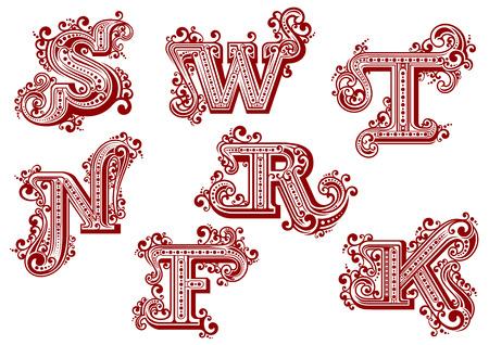 Letras rojas mayúsculas elegantes en estilo swirly vendimia adornados por líneas torcidas, volutas y puntos aislados en el fondo blanco. Letras F, K, N, R, S, T, W