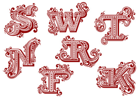 Elegant uppercase red letters in vintage swirly style ornated by  twisted lines, curlicues and dots isolated on white background. Letters F, K, N, R, S, T, W Illustration