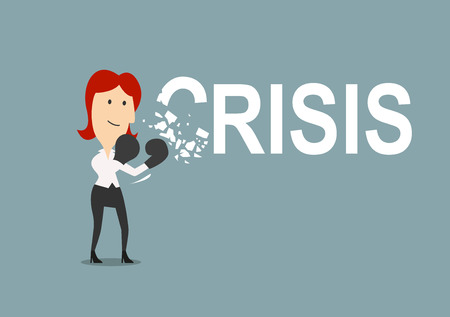 crisis management: Successful businesswoman beats the crisis with boxing gloves. Cartoon style, for crisis management concept design