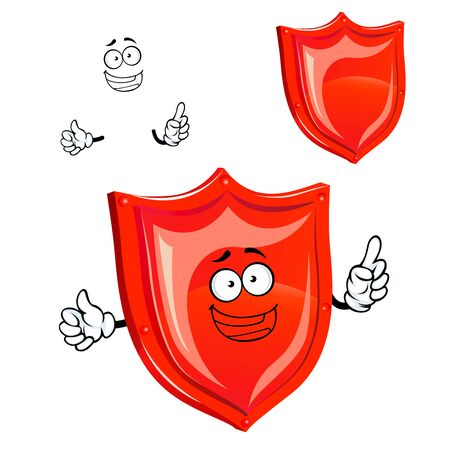 happy web: Happy red shield cartoon character with glossy protective surface and edges,  for web security or protection concept Illustration