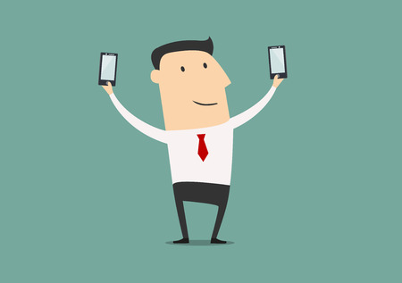 shots: Businessman posing and making double selfie shots with two smartphones. Cartoon style