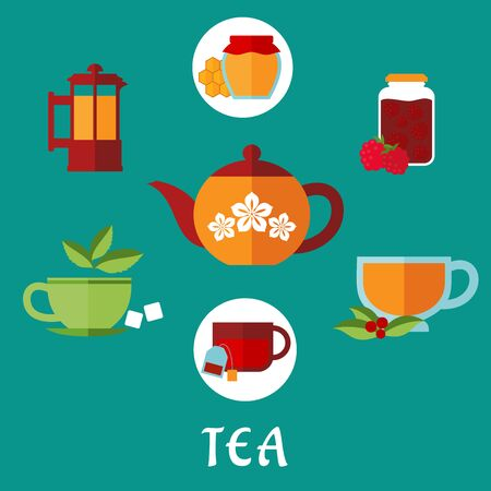 cowberry: Flat tea icons with jars, honey and raspberry jam, french press, various teacups with tea bag, sugar cubes, fresh leaves of mint and cowberry with porcelain tea pot