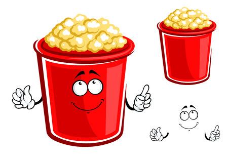 palomitas de maiz: Cubo de dibujos animados de carácter palomitas de maíz con contenedor rojo de palomitas dulces de caramelo, apto para el diseño de la comida rápida
