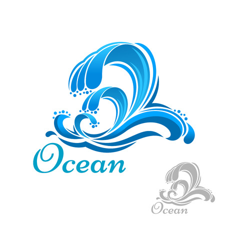 Blue sea wave of ocean surf symbol for ecology, business or nature design