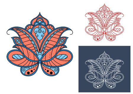 blue petals: Persian paisley flower with red and blue colored petals isolated on background, retro style