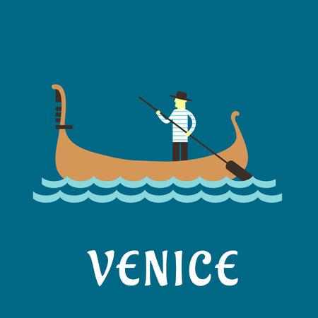 gondolier: Venice travel concept with venetian gondolier in traditional costume, in a wooden gondola boat with paddle on a river