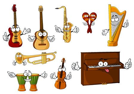 the harp: Dibujos animados Alegre clásicos instrumentos musicales personajes con tambores africanos del djembe, piano, arpa, maracas mexicanos, trompeta, saxofón, violín, guitarras aislados en el fondo blanco