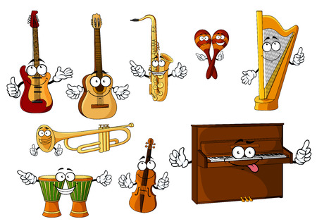 Cheerful cartoon classic musical instruments characters with african djembe drums, upright piano, harp, mexican maracas, trumpet, saxophone, violin, guitars isolated on white background Illustration