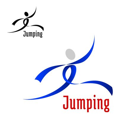 movement: Jumping competition emblem  design with jumping athlete abstract silhouette, composed of blue curved ribbons and isolated on white background Illustration