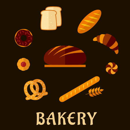 salty: Fresh bakery icons in flat style with round loaf of rye bread on the wooden chopping board encircled by long loaf, toasts, french baguette, salty pretzel and sweet cookie, donut, croissant and bun