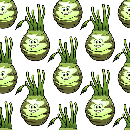 fresh vegetable: Seamless pattern of fresh kohlrabi vegetable cartoon characters with sappy green leaves on white background
