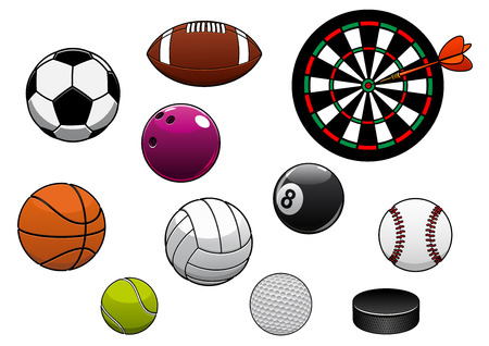 Equipments and sport items with dartboard, hockey puck and football or soccer, rugby, basketball, volleyball, tennis, golf, baseball, billiards and bowling balls Ilustração