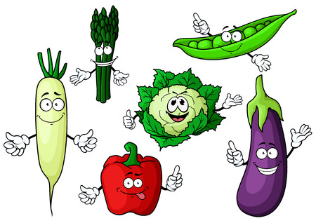 pea pod: Fresh garden cartoon characters with bell pepper, eggplant, cauliflower, green pea pod, asparagus and daikon vegetables, for agriculture or healthy vegetarian food design