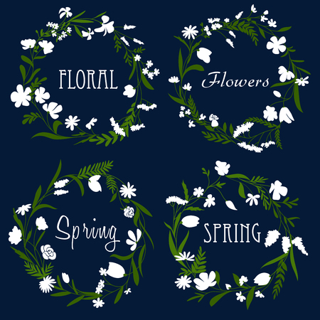 sprig: Spring flowers wreaths with white blooming flowers, herbs and dark green grass sprig, for greeting card or floral frame design