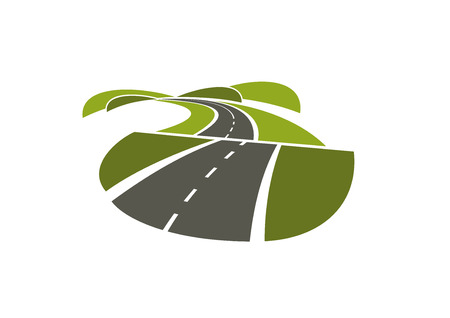 vehicle track: Summer road abstract icon with asphalt highway running through green hills. Isolated on white background, for transportation design