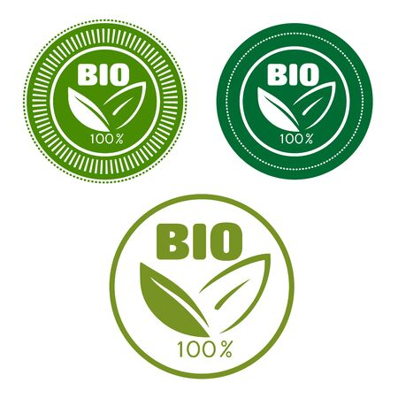 food and beverage: Bio and natural food labels with text 100 percent, Bio and green leaves,  framed by round seals for food or beverage pack design Illustration