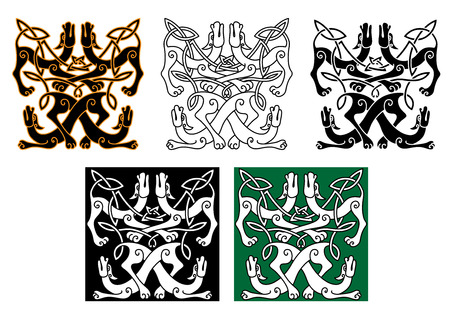 celt: Celtic animal patterns with wild dogs, decorated by traditional knot ornaments. For art or tattoo design Illustration