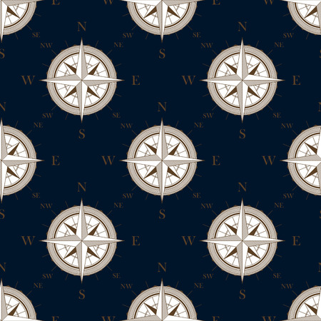 Vintage compass seamless pattern with bronze direction marks on dark blue background, for travel concept