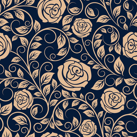 Vintage roses seamless pattern with billowy sprigs, curlicues and delicate foliage on dark background in retro style Illustration