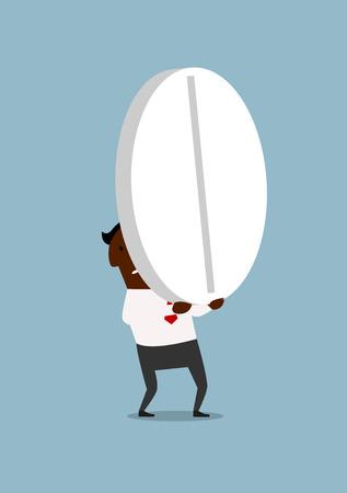 personas enfermas: Empresario afroamericano cansado llevando una enorme pastilla redonda, para el dise�o de atenci�n m�dica o medicamentos concepto. Estilo de dibujos animados