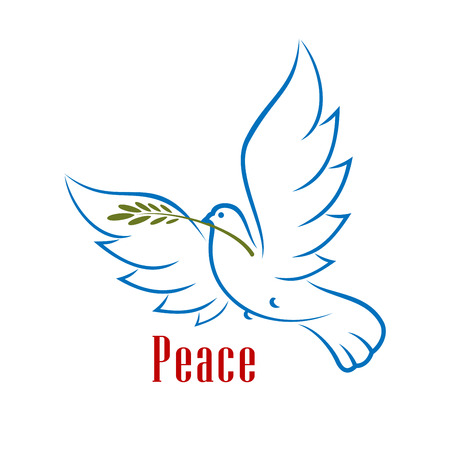 Dove bird carrying green olive branch in beak as a peace symbol, isolated on white background . Outline sketch style