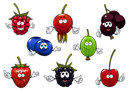 briar: Sweet raspberry, strawberry, currants, cherry, blackberry, gooseberry, blueberry and briar fruits cartoon characters isolated on white.  For agriculture or fresh healthy food design