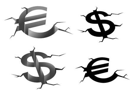 financial symbols: Dollar and euro money symbols in earth cracks isolated on white background, for financial crisis or falling rates concept Illustration