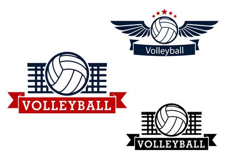 voleibol: Iconos deportivos de voleibol con la bola del voleibol y de la red en el fondo, bola con alas con las estrellas y las banderas de la cinta