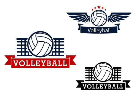 Volleyball sporting icons with volleyball ball and net on the background, winged ball with stars and ribbon banners