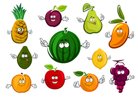 Cartoon sweet dessert fruits characters with watermelon, apple, orange, lemon, grape, avocado, mango, plum, pear and peach, isolated on white background