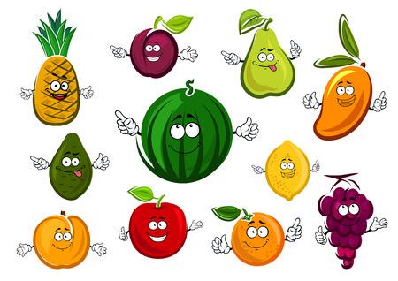 manzana caricatura: Dulce de postre Cartoon frutas personajes con sand�a, manzana, naranja, lim�n, uva, aguacate, mango, ciruela, pera y durazno, aislado en fondo blanco