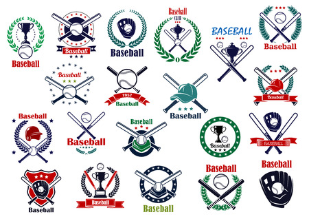 Baseball game emblems and icons with balls, crossed bats, trophy cups, gloves, helmet and caps decorated by wreaths, stars, shield and ribbon banners 向量圖像