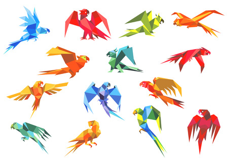 craft paper: Colorful tropical parrots birds in origami style in different poses,  for environment, symbol or emblem design