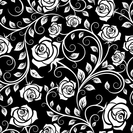 Seamless pattern of vintage white roses among twisted stems on black background, for wallpaper or interior design