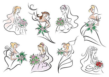 weisse kleider: H�bsche Br�ute und Brautjungfern in wei�en Kleidern mit eleganten Frisuren, bunte Blumenstr�u�e in den H�nden. F�r Hochzeit oder Trauung Design Illustration