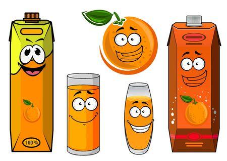 vaso de jugo: Personajes de dibujos animados Happy naranja jugo con frutas de color naranja soleado, vasos y envases de cartón de zumo de naranja natural. Aislado en el fondo blanco para el diseño del envase de alimentos