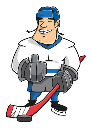 Confident smiling cartoon ice hockey player character in uniform with hockey stick and puck, showing thumb up gesture