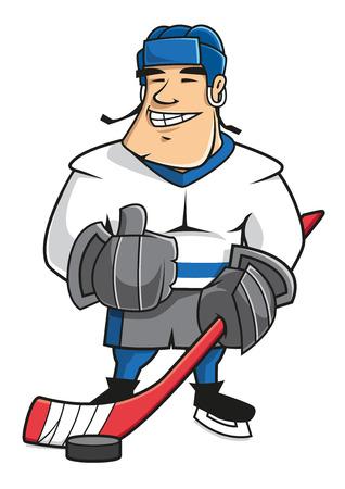 Sonriente personaje de dibujos animados jugador de hockey sobre hielo Confiados en uniforme con el palo de hockey y el puck, que muestra el pulgar arriba gesto Vectores