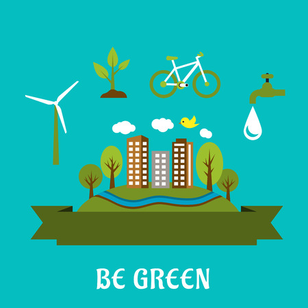 Green city concept with eco friendly city, green energy and natural resources protection icons. Flat style