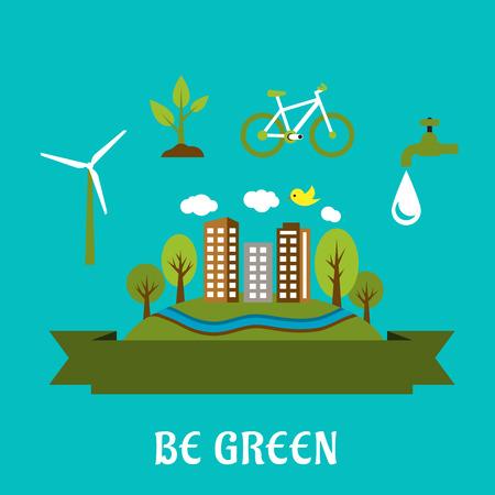 logo recyclage: Vert concept de ville avec la ville eco friendly, l'énergie verte et la protection des ressources naturelles icônes. Le style plat Illustration