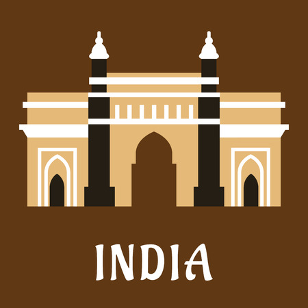 historical landmark: Indian architectural and historical landmark flat icon of ancient mosque Charminar with high minarets with caption India