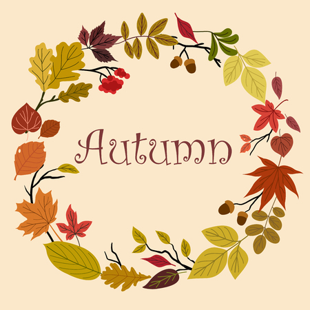 acorn: Autumn foliage wreath with various colorful leaves, twigs with acorns and bunch of rowanberry with text Autumn Illustration