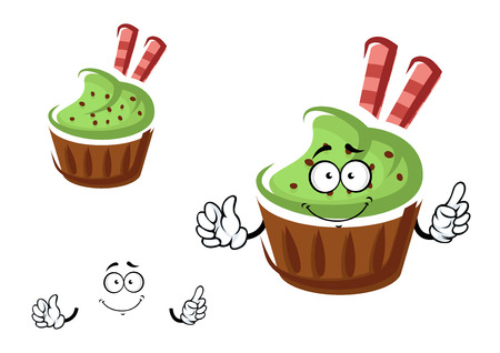 holiday party: Funny tasty cartoon cupcake character with green cream, chocolate chips and waffle rolls. For pastry shop or holiday party design Illustration
