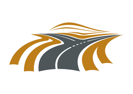 Forked road symbol with highway divided road on two ways, for transportation or navigation concept